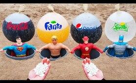Stretch Armstrong, Flash, Superman, Batman vs Coca Cola, Fanta, Pepsi, Sprite Underground!
